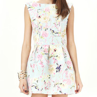 Floral Print Sleeveless Skater Backless Dress