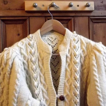 womens cream cardigan vintage aran jumper  fishermens  winter  clothing  hand knitted knitwear