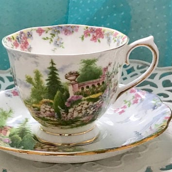 Antique 1920's Royal Albert Tea Cup, Tea Cup and Saucer, English China, Pink Green Teacup Set, Kentish Rockery Birthday Gift for Friend