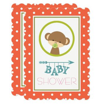 Baby Monkey with a Pacifier Baby Shower Card
