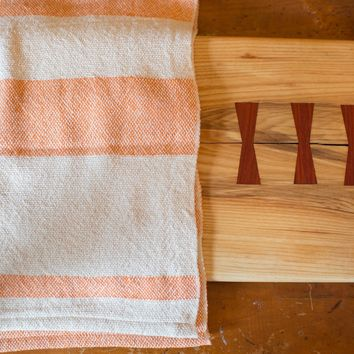 Handwoven in USA Loomination Dish Towel Orange