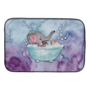 Elephant Bathing Watercolor Dish Drying Mat BB7346DDM