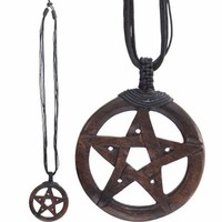 Wooden Pentacle of Ancient Power Necklace