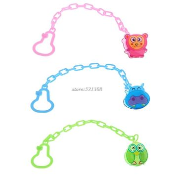 Baby Pacifier Chain Clip Animal Cartoon Baby Pacifier Anti lost Dummy Clip Baby Soother Holder