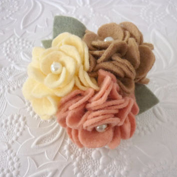 Felt Flower Brooch Felted Corsage Wool Pin Beaded Garden Yellow
