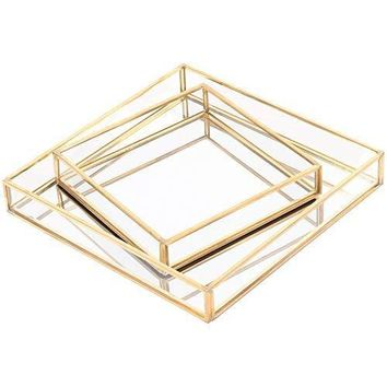 Gold Lux Glass Mirror Square Trays Vanity Set