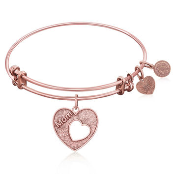 Expandable Bangle in Pink Tone Brass with Mother's Special Love Symbol