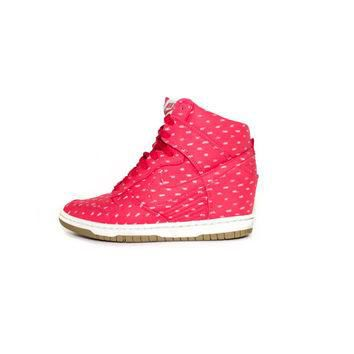 NIKE Dunk Sky Hi Print Hyper Red - Wedge Heel - 543258-600 - womens shoes size 7