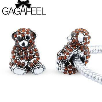 GAGAFEEL Hot Sale Cute Bear CZ crystal Charms Beads Fit Pandora Bracelet necklace DIY