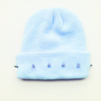 Studded Beanie - Blue Beanie - Pastel Hat - Kawaii - Grunge - ALL SIZES