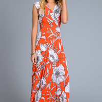 Ivory Floral Maxi Dress - Coral