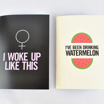 "Beyonce Notebook Set! ""I Woke Up Like This"" & ""I've been Drinking Watermelon"" journals! flawless, drunk in love, jay-z, Beyoncé Knowles"