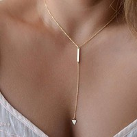 Doinshop Women Bohemia Bar Alloy Necklace Simple Little Triangular Tassels Chian