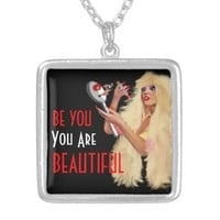 BE YOU Beautiful Woman with a Mirror(ART)Necklace