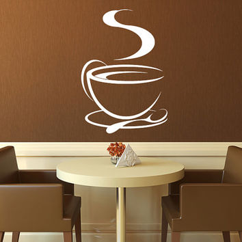 "Coffee Cup Tea Cup Kitchen Vinyl Wall Decal Graphics Home Decor 15"" x 22"""