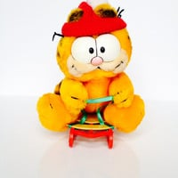 Vintage Garfield Christmas Sled Plush Toy