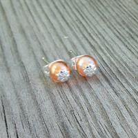 Peach Pearl Earrings, Czech Glass Pearl, Silver Daisy Stud Earrings