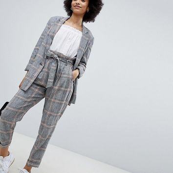 Bershka Check Peg Leg Trouser at asos.com