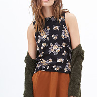 FOREVER 21 Floral Sweater Tank Black/Tan