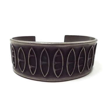 Large Wide Vintage Cuff Bracelet Brodrene Mylius Pewter Norway Mid Century Viking Design Scandinavian Jewelry