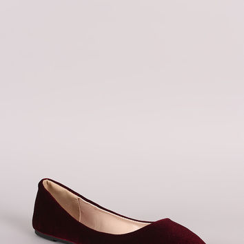 Bamboo Crushed Velvet Slip On Ballet Flat