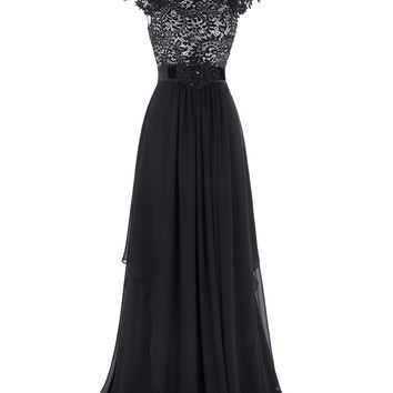 Black Evening Dress Cap Sleeve V-Back Lace Formal Gown Chiffon Evening Party Dresses