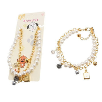 Pet Dog Necklace Cat Puppy Harness Collar Pearls Chain Perfume Bottle Pendant = 1705493892