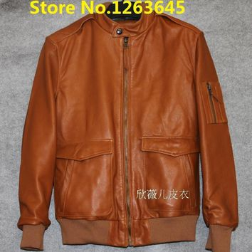 Hot Brown Cheap Genuine Leather Jacket Men Natural Sheepskin Leather Coat Pockets Factory Price High Quality Free Shipping