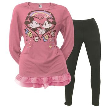 Disney - Classic Love Girls Youth Tunic Long Sleeve with Leggings