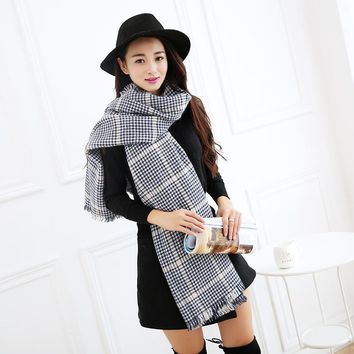 New Style Women Winter Knitted Scarf Long Size Warm Fashion Female Scarves  Wraps for Lady Scarfs Plaid Thickening  Muffler