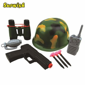 Surwish Military Solider Role Play Boys Toy Camouflage Hat Walkie Talkie Telescope Hand Gun Bullets Set