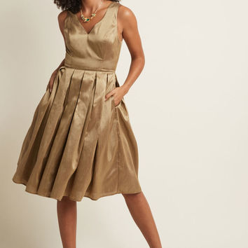 Fancy Pleated Midi Dress in Gold