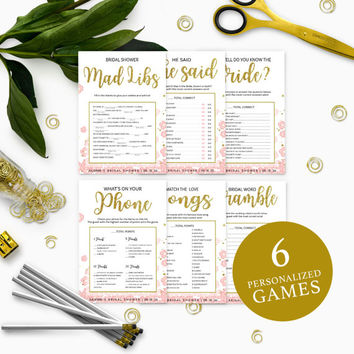 Pink and Gold Bridal Shower Games Package-Bundle 6 DIY Personalized Printable Bridal Shower Games-Golden Glitter Floral Bridal Shower Games