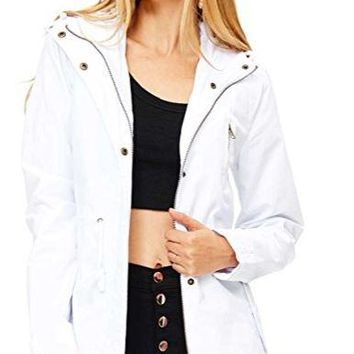 Cargo Style Hoodie Jacket in White