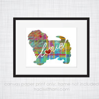Maltese Love - Canvas Paper Print: A Whimsical & Colorful Abstract Watercolor Style Original Digital Art / Dog Breed Artwork