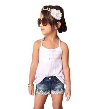 24M-Size 8 Girls Tank +Jean Shorts Set