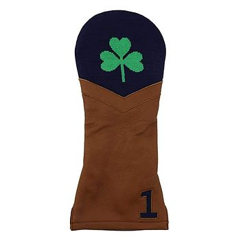 Shamrock Needlepoint Driver Headcover in Dark Navy by Smathers & Branson