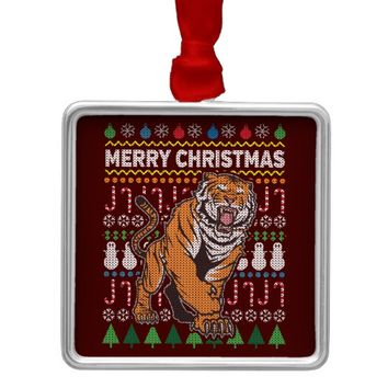 Tiger Ugly Christmas Sweater Wildlife Series Metal Ornament