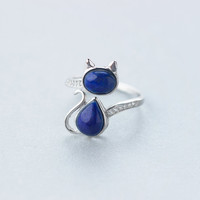 925 sterling silver jewelry cubic zircon and natural lapis lazuli cat adjustable rings best gift for Mother's day!