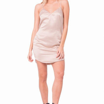 """Toast to That"" Champagne Satin Slip Dress"