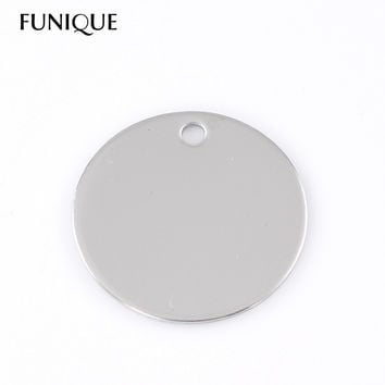 FUNIQUE 10PCs 30mm Dia Round Stainless Steel Dog Tags Pendants Stamping Blanks For Necklaces Jewelry Making DIY Silver Tone
