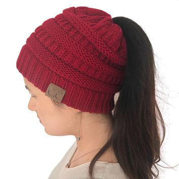 Wool Knitted 2017 Winter Caps Warm Hats For Women Cotton Crochet Female Beanies Gorros Baggy Ponytail Hat Skullies Bonnet Femme