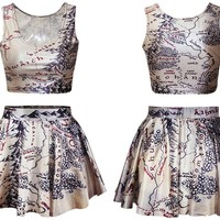 Ninimour- Digital Print Reversible Crop Top + Skirt 2 Pieces Vintage Clubwear (map)