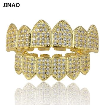 Vampire Fang Set CZ Grillz 18k Gold Plated and Silver 2 Tone Teeth