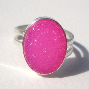 925 Sterling Silver Pink Ruby Druzy Ring