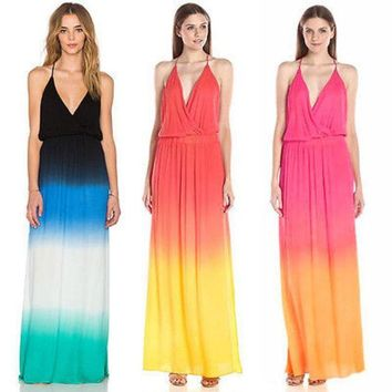 PEAPUNT New Sexy Womens Bohemian Rainbow Evening Party Boho Summer Beach Long Maxi Dresses