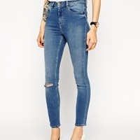 ASOS Ridley Skinny Ankle Grazer Jeans in Aged Venice Wash with Ripped Knee
