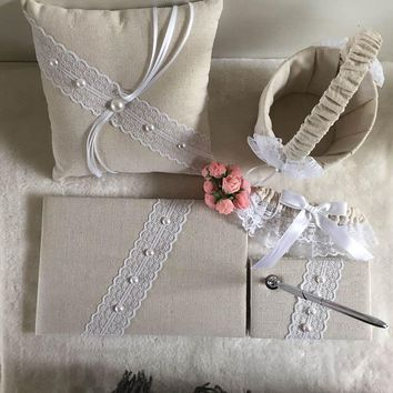 5Pcs/Set Rustic Wedding Decoration Burlap Pearls Ribbon Wedding Ring Pillow+ Flower Basket+Guest Book + Pen Set
