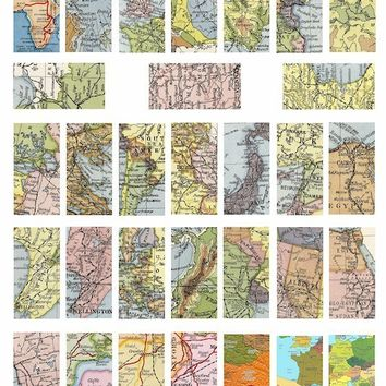 vintage world  maps collage sheet digital download  1 BY 2 inch