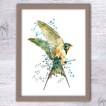 Bird print Bird watercolor poster Animal art print Animal colorful poster Swallow print Home decoration Kids room wall art Gift idea V60